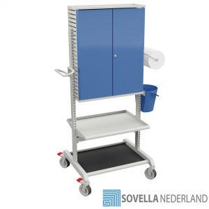 Sovella Nederland Treston basis gereedschapstrolley met afsluitbare opslagkast en legborden