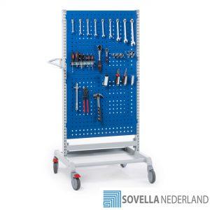 Sovella Nederland Treston trolley combinatie 5 met gereedschapsborden aan 2 zijden voor in de werkplaats met gereedschapshaken
